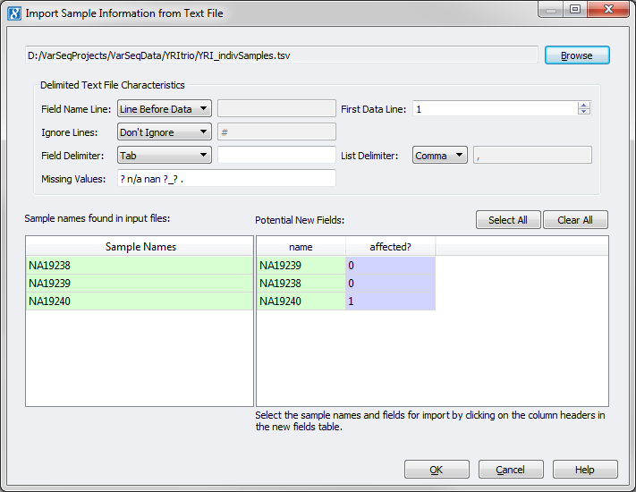 Importing Your Data Into A Project — SNP & Variation Suite