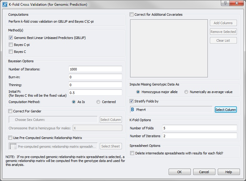 K-Fold dialog with selected options